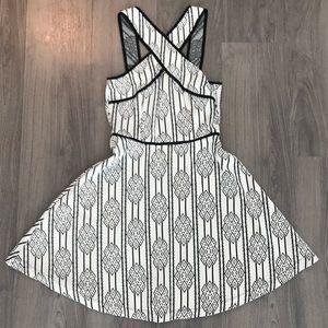 Express black & white knit flare dress